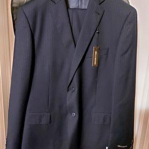 Men's Bellissimo navy pinstriped suit